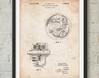 Distributor 1946 Patent Poster, Car Part Art, Henry Ford, Car Enthusiast, Mechanic Gift, Man Cave Decor, PP0839