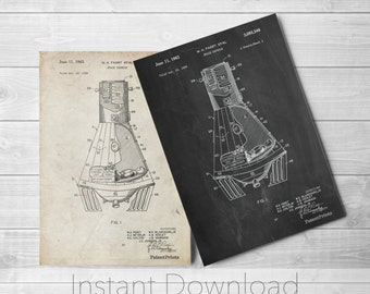 NASA Space Capsule Printables, Outer Space Nursery, Space Print, Spaceship, Astronaut, Technology Art, PP0229