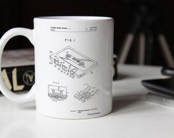 Cassette Tape Patent Mug, DJ Gifts, 80s Mug, Retro Radio, Music Lover Gift, PP0319