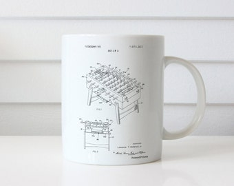 Foosball Game Patent Mug, College Dorm Decorations, Youth Group, Basement Decor, Game Room Mug, PP0136