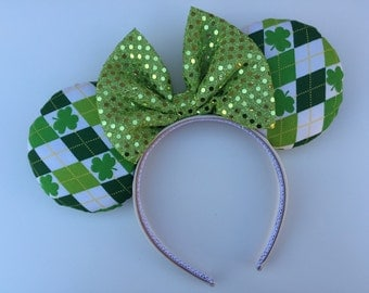 St. Patrick's Day Three Leaf Clover Minnie Mouse Ears