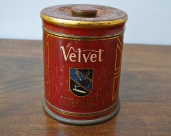 Vintage Velvet Tobacco Tin, Pipe and Cigarette Tobacco, Liggett & Myers, Made in USA, Tobacciana, Advertising, 1930's, Humidor Tin. Red Gold