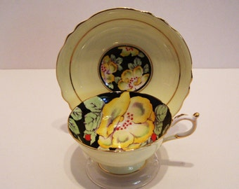 Paragon Queen Mary Tea Cup and Saucer Black and Yellow with Flowers AS IS