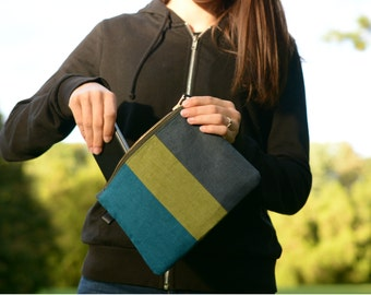 Linen Color Block Clutch - Green Turquoise Grey Linen Carry All Pouch - Zippered Cosmetic Bag - Organizer Bag