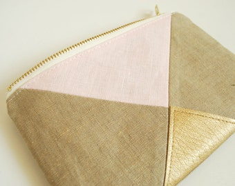 Blush Gold Wedding Pouch - Linen Zipper Pouch - Bridesmaid gift - Blush Pink Brides clutch - Bridesmaids clutches