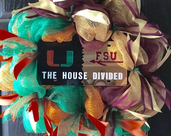 UM and FSU House Divided Deco Mesh Wreath with License Plate attached