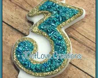 Sparkly gold and aqua Birthday Candle - 3 Inch - You Choose the Number