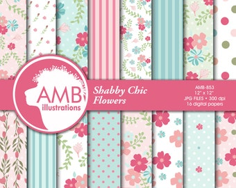 Shabby Chic paper, floral Digital Papers, Shabby chic floral, wedding paper, floral pattern, scrapbook paper, commercial use, AMB-853