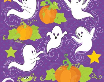 Halloween Clipart, Ghost Clipart, Pumpkin Clipart, Casper the Friendly Ghost clipart, Commercial Use, AMB-142
