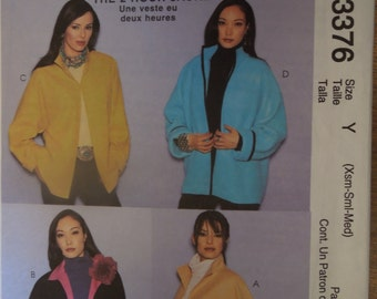 McCalls 3376, sizes xsmall, small, medium, oversized jacket, C is lined, UNCUT sewing pattern, craft supplies, womens, misses, teens