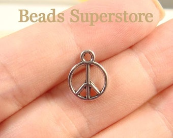 12.5 mm x 10 mm Antique Silver Peace Sign Charm / Pendant - Nickel Free, Lead Free and Cadmium Free - 16 pcs (CH168)