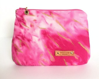 Julie Makeup Bag / Hand-treated and Hand-painted (pink and gold, makeup bag)