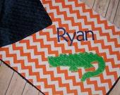 Alligator- Personalized Minky Baby Blanket with Embroidered Gator- Orange Chevron & Navy Minky