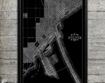 Map of DULUTH Print, Wall Decor for your Home or Office