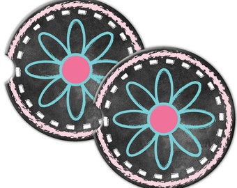 Sandstone Car Coaster Set Of Two - Chalkboard Flowers -  Free Standard Shipping