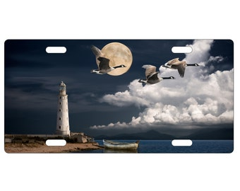 Custom, Personalized Standard Size License Plate - Geese With Lighthouse At Night - Add Your Text - Free Standard Shipping