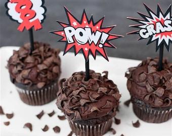 Superhero POW Cupcake Toppers-set of 12