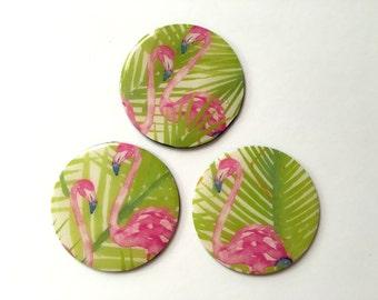 "2"" Round Flamingo Magnets, Set of 3"