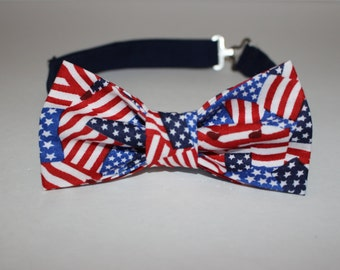 Pre Tied American Flag Bowtie / Bow TIe -- Free Shipping