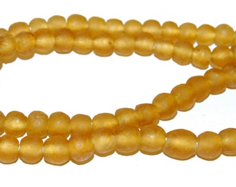 Recycled Glass Beads - Amber Glass Beads 8mm - African Beads - Eco-Friendly-  Made in Ghana- amber round beads - 20 Beads
