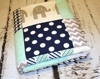 Elephant Baby Quilt - Modern Minky Quilt, Baby Boy Quilt, Gray, Mint, Navy, Patchwork Baby Quilt - Baby Blanket - Minky Baby Blanket