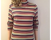 Vintage 90s striped knit grunge ribbed turtleneck sweater / stripe knit top / lime green orange navy and white stripes/ stretchy