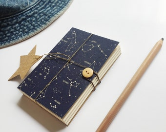 Constellation notebook, Star notebook, Indigo Sketchbook, Space notebook, A5 A6 notebook