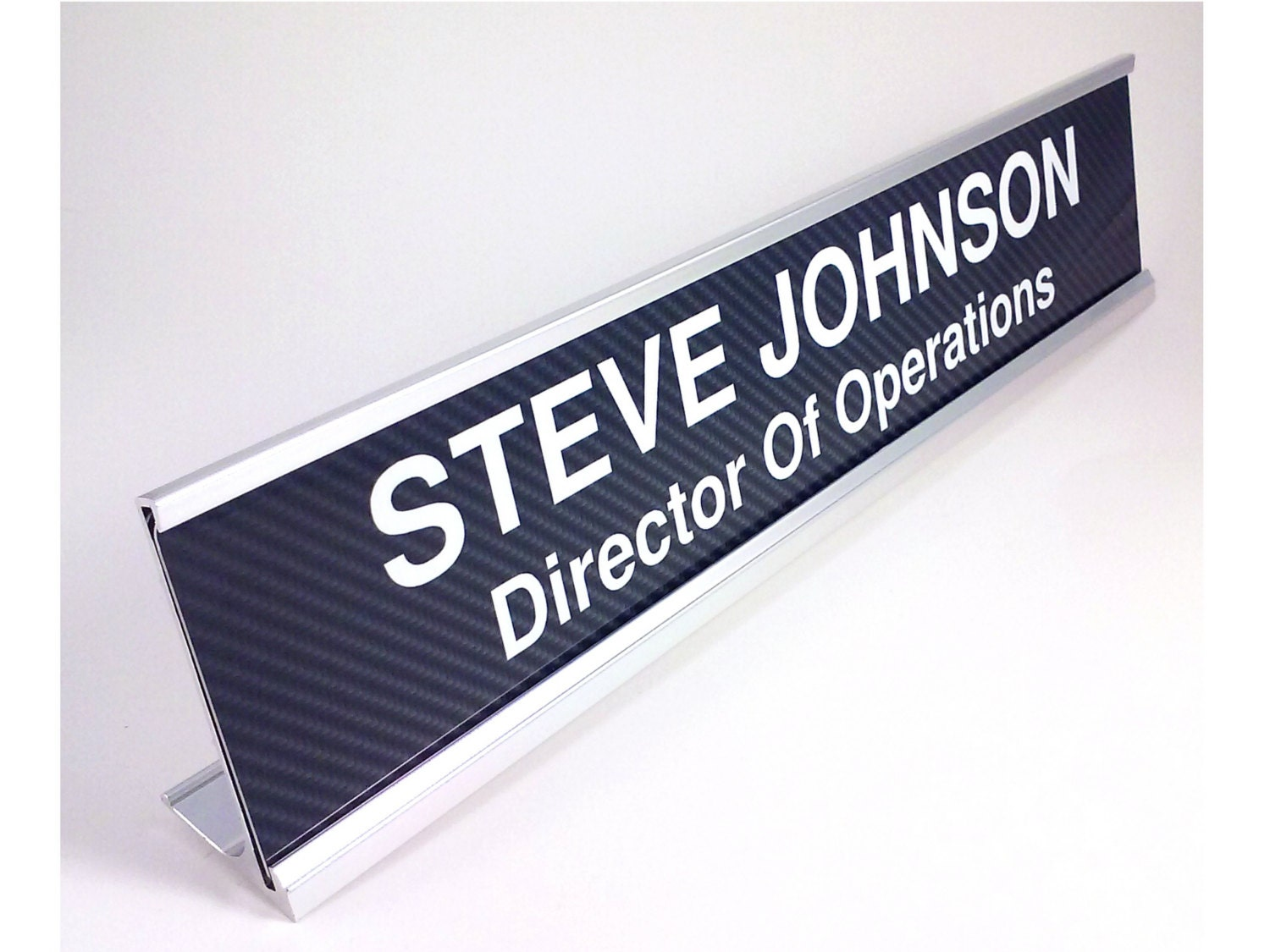 Name Plate: Personalized Desk Name Plate With Carbon Fiber Look Insert