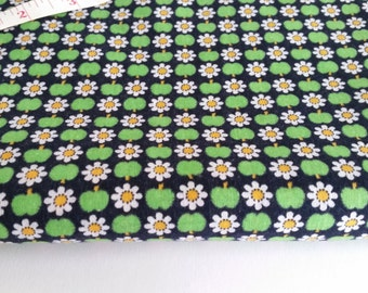 Scandinavian decorative smallscale fabric with apple and flowers, vintage 70's.