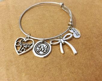 Sweet 16 personalized charm bracelet