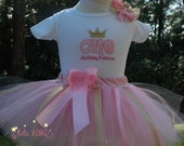Pink and Gold  1st Birthday Outfit, Baby Girl 1st Birthday Tutu Outfit,Pink and Gold First Birthday Outfit-One year old girl birthday outfit