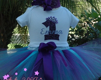 Baby Girl 1st Birthday Outfit, Purple Baby Girl 1st Birthday Tutu Set, 1st Birthday Outfit, Purple and Blue Tutu Outfit, First Birthday