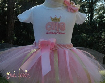 pink and gold, 1st birthday outfit,wild one birthday,onesie,birthday outfit,one year old,pink tutu,birthday tutu,
