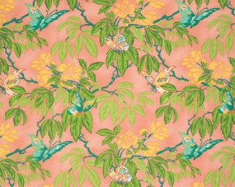 April Cornell fabric Glorious Garden Butterfly AC04 Peach coral green turquoise floral flowers Free spirit 100% cotton fabric by the yard