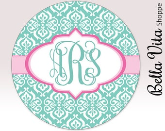 Damask Mouse Pad - Light Teal Damask with Monogram - Personalized Mouse Pad - Round or Rectangle 7059