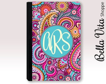 Personalized iPad Case, Monogrammed Pretty Pink Paisley Leather, 2005