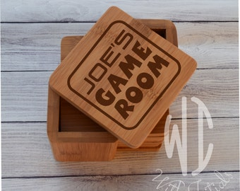 Personalized Coasters, Custom Coasters, Engraved Coasters, Bamboo Square set of 6 wood coasters, game room