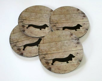 Dachshund Coaster Set - Doxie Dog Coasters - Drink Coasters - Dog Lover Gift - Rustic Home Decor