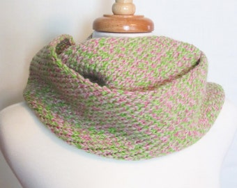 "Hand Knit Wool ""Spring Garden"" Infinity Scarf. Pink and Green Loop Scarf. Ships Free in the USA"
