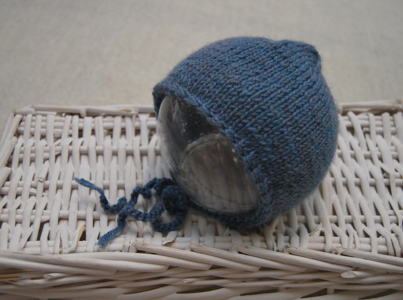 Blue Newborn Boy Hat Knitted Newborn Bonnet Newborn Boy
