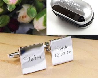 Mens Personalised Usher Wedding Day Custom Engraved Square Cufflinks - Personalised Engraved Gift Box Available