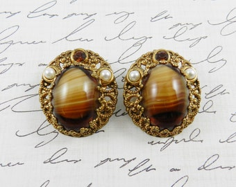 Beautiful Vintage Rhinestone Earrings Root Beer Givre Cabochon Faux Pearls Gold Tone Finish W Germany Resale