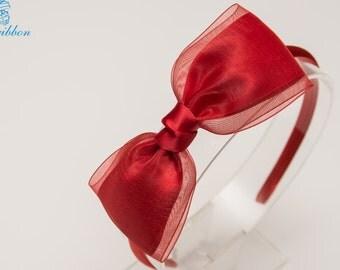 red hair bow headband - flower girl organza hair band 122