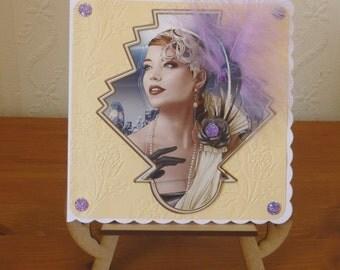 3D Art Deco Style Ladies Birthday Card