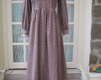 Vintage Laura Ashley Long Dress 1980s Size 12 Brown Cotton