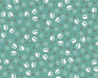 Half Yard Hazel - Tossed Flowers in Teal - Cotton Quilt Fabric - Allison Harris of Cluck Cluck Sew for Windham Fabrics - 40840-7 (W3415)