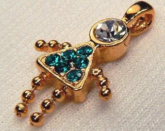 Vintage Blue Zircon Crystal Girl Charm, Blue December Birthstone Charm, Charm For Jewelry Making, Add On Charm Supplies, Destash (C148)