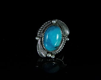 Sleeping Beauty Turquoise Ring Sterling Silver Handmade Size 8.75, R0474