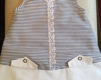 Girls Navy Blue & White Striped Dress