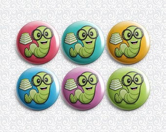 Bookworm Cute Reading Library Book Lover 6 Pack - Pinback Badge / Magnets / Sticky